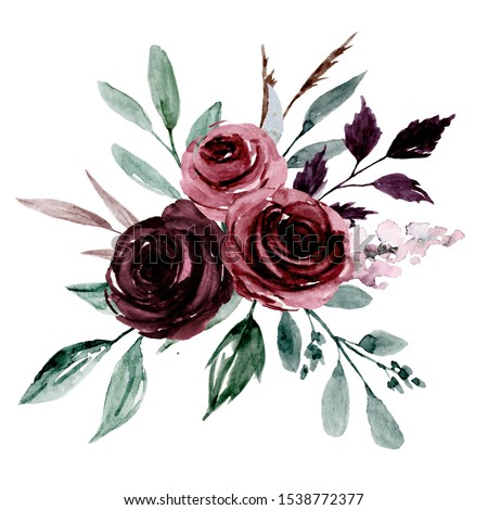 Pink, purple flowers watercolor, floral clip art. Bouquet roses perfectly for printing design on invitations, cards, wall art and other. Isolated on white background. Hand painting.