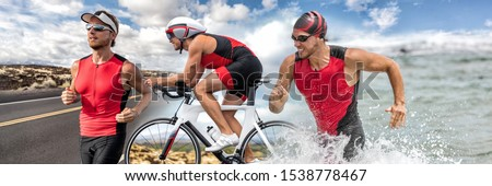 Triathlon swim bike run triathlete man running biking swimming in ocean at ironman race banner panorama. Three pictures composite of fitness athlete professional cyclist, runner, swimmer athletes. #1538778467