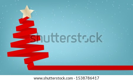 Red ribbon Christmas tree on snowing background flat illustration vector #1538786417