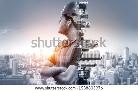 Future building construction engineering project concept with double exposure graphic design. Building engineer, architect people or construction worker working with modern civil equipment technology. #1538803976
