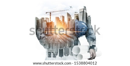 Future building construction engineering project concept with double exposure graphic design. Building engineer, architect people or construction worker working with modern civil equipment technology. #1538804012