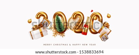 Happy New Year 2020. Golden metal number. Realistic 3d render sign. festive realistic decoration. Celebrate party 2020, Web Poster, banner, cover card, brochure, flyer, layout design. White background #1538833694