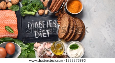Healthy organic food  for Diabetes diet. Cholesterol diet, food high in antioxidants, vitamins and minerals. Top view with copy space #1538873993