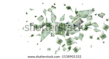 Money stack. Falling banknotes. European money on white isolation background.