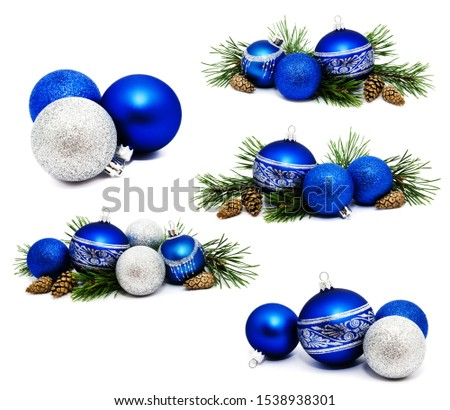 Collection of photos Christmas decoration blue and silver balls with fir cones and fir tree branches isolated on a white background  #1538938301
