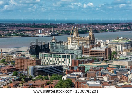 LIVERPOOL, UNITED KINGDOM - AUGUST 12: This is an aerial view of the downtown area and waterfront of Liverpool on August 12, 2019 in Liverpool #1538943281