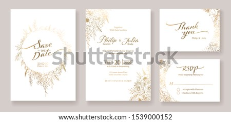 Gold Wedding Invitation, save the date, thank you, rsvp card Design template. Vector. winter flower, Rose, silver dollar, olive leaves, Wax flower, Anemone. Royalty-Free Stock Photo #1539000152