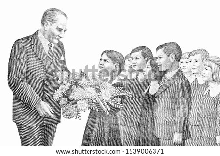 Children presenting flowers to President Kamel Ataturk facing. portrait from Old Turkish Lira banknotes An Old paper banknotes, vintage retro. Famous ancient Banknotes Turkey money, Closeup Collection #1539006371