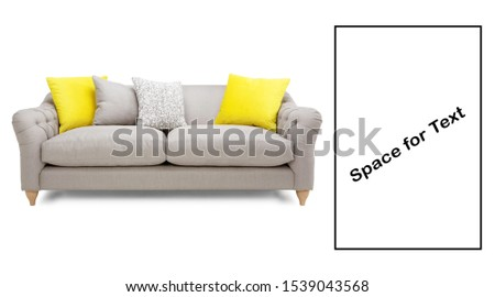 Mid Back Sofa Isolated on White. Two Seater Couch with Two Accent Scatter Pillows and Yellow Large Bolster Cushions. Front View Upholstered Silver Gray Linen Loveseat with Armrests and Seat Cushion #1539043568
