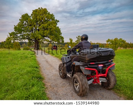 Riding an ATV. Two ATVs ride along the path. Quad bikes drive past a large oak tree. Leisure. Traveling by ATV. ATVs go to distillation. Extreme vacation. Extremely spend holidays. Back view. #1539144980