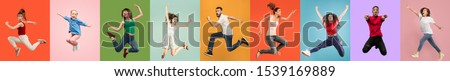 Young emotional people on multicolored backgrounds. Young surprised women jumping happy. Human emotions, facial expression concept, modern technologies. Trendy colors in collage. Made of 7 models. #1539169889