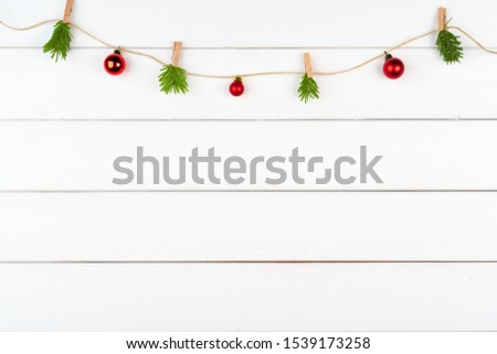 Christmas decorations on white wooden background with copy space #1539173258