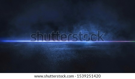 Empty background scene. Dark street reflection on the wet pavement. Rays neon light in the dark, neon figures, smoke. Night view of the street, the city. Abstract dark background. Abstract spotlight.  #1539251420