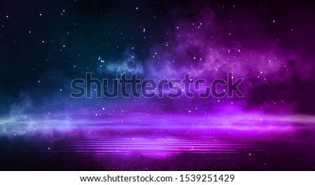 Empty background scene. Dark street reflection on the wet pavement. Rays neon light in the dark, neon figures, smoke. Night view of the street, the city. Abstract dark background. Abstract spotlight.  #1539251429