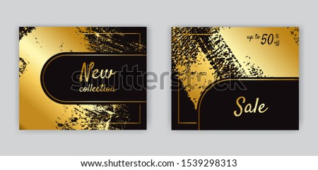 Luxury black and gold sale cards. #1539298313