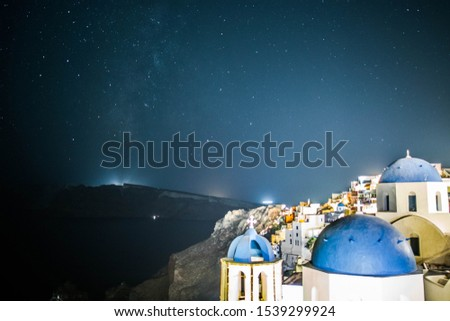 Amazing Stars with Blue Dome, Santorini Islands, Greece #1539299924