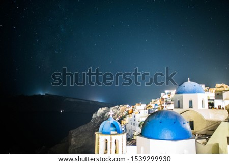 Amazing Stars with Blue Dome, Santorini Islands, Greece #1539299930