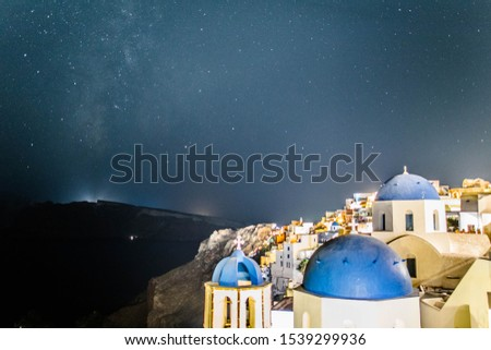 Amazing Stars with Blue Dome, Santorini Islands, Greece #1539299936