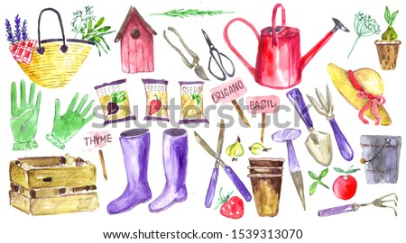 Garden tools watercolor set. Elements for stickers and illustrations. Spring time design. #1539313070