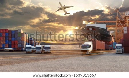 Logistics import export background and transport industry of Container Cargo freight ship and Cargo plane background, Truck transport container on the road to the port #1539313667