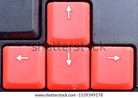 Cursor key, direction keys or navigation keys in numeric pad on computer keyboards. It is made up of four keys the left back, up arrow, down arrow, and right arrow (forward arrow). #1539349178