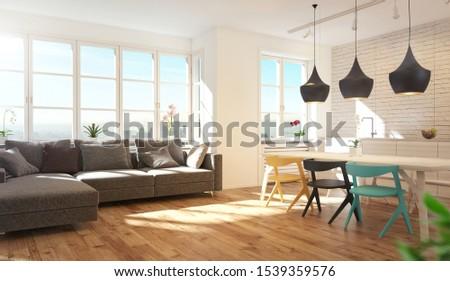 Luxury Modern Living Room, 3d rendering illustration #1539359576