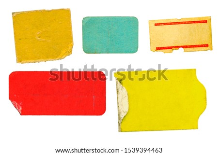 set of empty grungy adhesive price stickers, red price tags, with free copy space, isolated on white background #1539394463