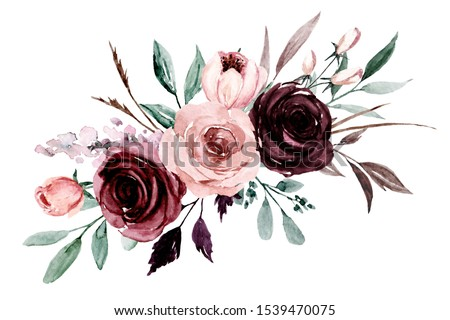 Pink, purple flowers watercolor, floral clip art. Bouquet roses perfectly for printing design on invitations, cards, wall art and other. Border isolated on white background. Hand painting.