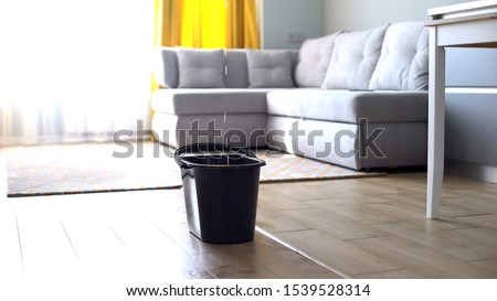Water droplets leaking in bucket from ceiling, damaged roof, house renovation Royalty-Free Stock Photo #1539528314