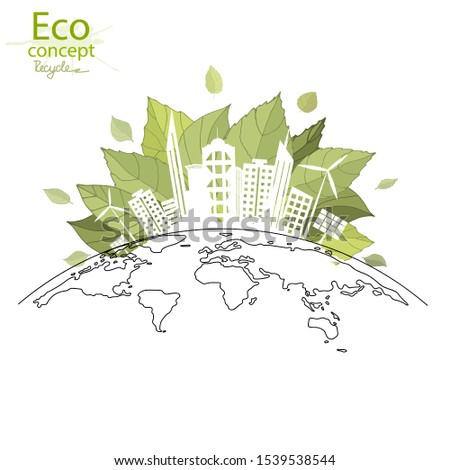 The city on the globe. Ecology concept. Environmentally friendly world. Creative drawing on global environment with happy family stories. Info graphics. Icon. Logo. Vector illustration. doodle. #1539538544