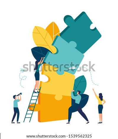 Business concept. Team metaphor. people connecting elements of a falling tower tower puzzle. Vector illustration of a flat design style. #1539562325