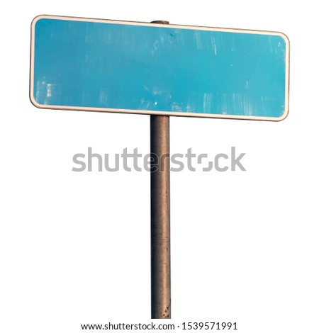 blank road sign on a white isolated background
