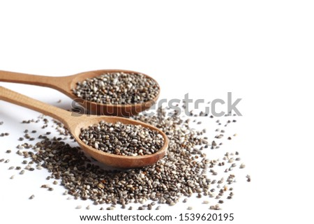 Сhia seeds in a spoon isolated on white background #1539620195