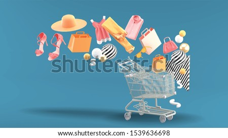 Clothes, bags, high heels, shopping bags and hats floated down to the shopping cart.  #1539636698