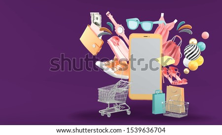 Smartphone surrounded by Shopping cart, shopping basket, shopping bag, clothes, high heel, and wallet on purple background.