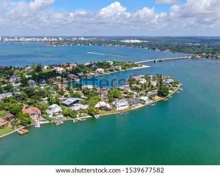 Aerial view of Siesta Key, barrier island in the Gulf of Mexico, coast of Sarasota, Florida. USA. #1539677582