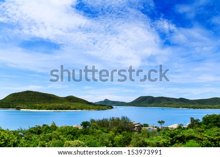 An open tropical island  with sky and clouds  #153973991