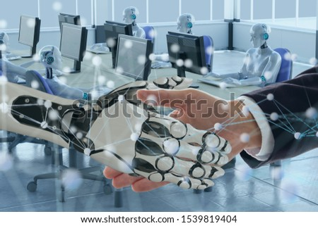 deep machine learning with artificial intelligence technology with neural network concept, hand man and robotic hand check hand to Collaborate, improvement, make a profit, ebitda, skill, decrease time Royalty-Free Stock Photo #1539819404