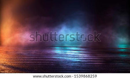 Wet asphalt, night view, neon reflection on the concrete floor. Night empty stage, studio. Dark abstract background. Product Showcase Spotlight Background.