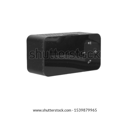 dirty Portable wireless speaker isolated on white background. Connect with smartphone to play the music #1539879965