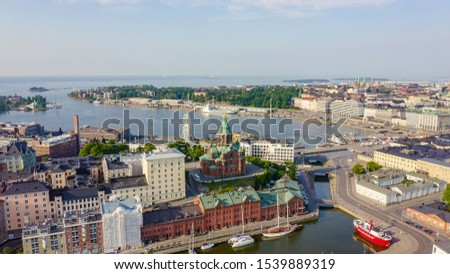 Helsinki, Finland. City center aerial view. Assumption Cathedral, From Drone #1539889319