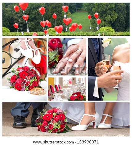 just married, wedding theme collage composed of different Images, red is the color #153990071