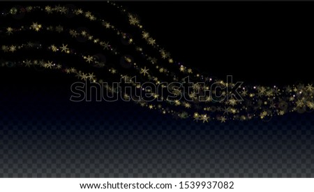 New Year Vector Background with Gold Falling Snowflakes Isolated on Transparent Background. Luxury Snow Sparkle Pattern. Snowfall Overlay Print. Winter Sky. Design for  Banner. #1539937082