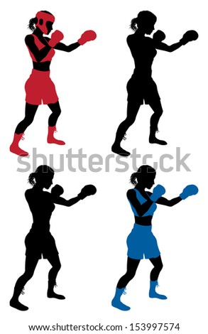 An illustration of a female boxer or boxercise woman boxing or working out. Color and simple silhouette outline versions included, as well as versions with protective headwear and without.