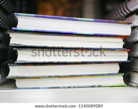 stack of notebooks. Stack of notebooks background, in office for education learning concept.  #1540089089