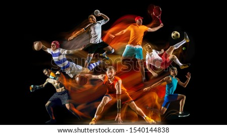 Creative collage of unrecognizable models running and jumping. Advertising, sport, healthy lifestyle, motion, activity, movement concept. American football, soccer, tennis volleyball box badminton Royalty-Free Stock Photo #1540144838