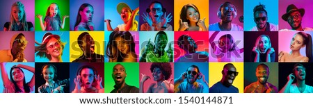 Close up portrait of young people in neon light. Human emotions, facial expression. People, astonished, screaming and crazy in happiness. Creative bright collage made of different photos of 17 models. #1540144871