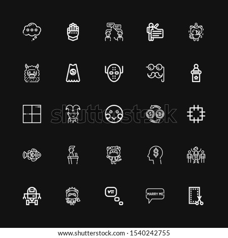 Editable 25 comic icons for web and mobile. Set of comic included icons line Patch, Speech bubble, Thinking, Kitty, Space robot, Superhero, Think, Speech, Clown fish on black background #1540242755
