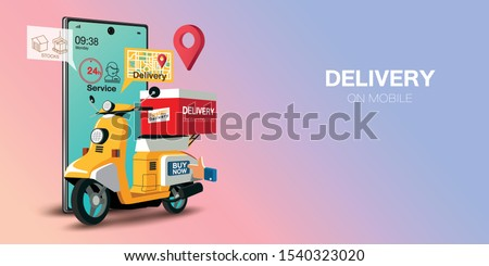 Fast delivery by scooter on mobile. E-commerce concept. Online food order infographic. Webpage, app design. Pink and Blue background. Perspective vector #1540323020