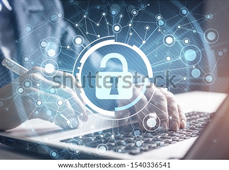 Digital cybersecurity and network protection. Virtual locking mechanism to access shared resources. Interactive virtual control screen. Protect personal data and privacy from cyberattack and hacker #1540336541